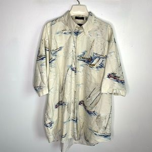 Nautica Sailing Print Short Sleeve Button Up